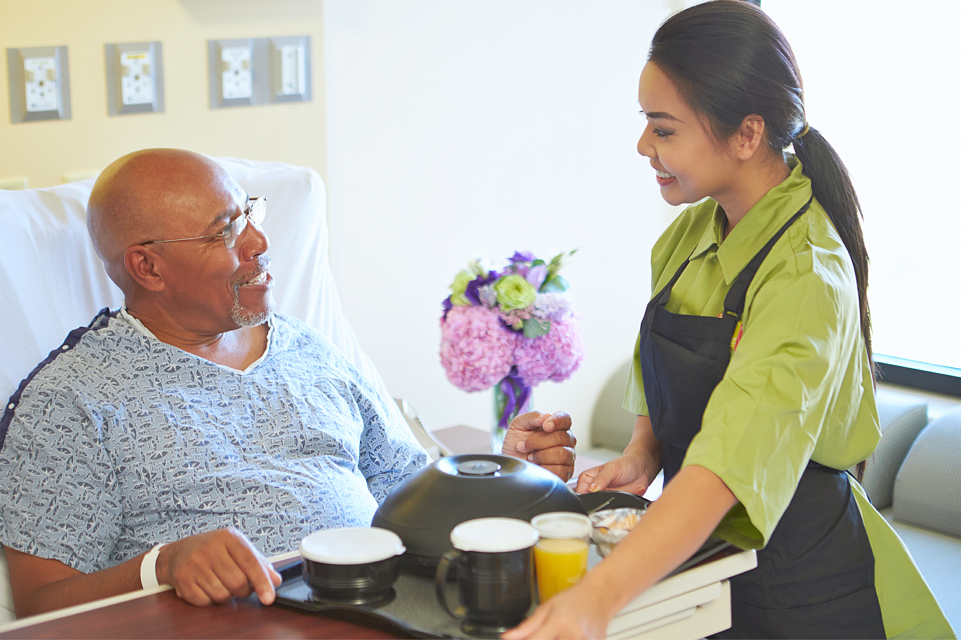 Caregiver and the elderly man