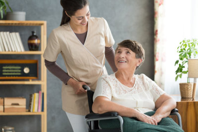 Caregiver in retirement home